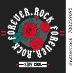 Stock vector rock and roll fashion slogan print for t shirt or other uses in vector 700259095