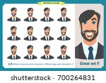 set of male facial emotions...   Shutterstock .eps vector #700264831