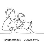 grandmother sitting with... | Shutterstock .eps vector #700265947