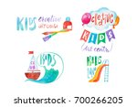 set of colorful kids club care... | Shutterstock . vector #700266205