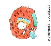 funny watercolor cartoon... | Shutterstock . vector #700266229