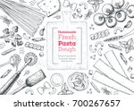 italian pasta top view frame.... | Shutterstock .eps vector #700267657