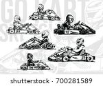 go kart racers. hand drawn...