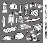 hand drawn food elements. set... | Shutterstock .eps vector #700294825