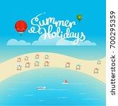 summer season vector concept.... | Shutterstock .eps vector #700295359