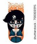 girl with santa muerte make up | Shutterstock .eps vector #700303591