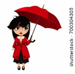 girl with a red umbrella | Shutterstock .eps vector #700304305