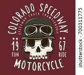 motorcycle skull with helmet... | Shutterstock .eps vector #700311775