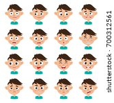 little cute boy face expression ... | Shutterstock .eps vector #700312561