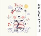 baby bear girl cute sailor ... | Shutterstock .eps vector #700316899