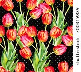 red tulips  hand painted... | Shutterstock . vector #700319839