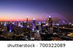 pin flat above night cityscape... | Shutterstock . vector #700322089