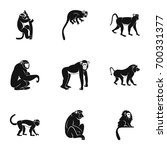 Jungle Monkey Icon Set. Simple...