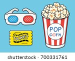 3d cinema glasses  ticket and... | Shutterstock .eps vector #700331761