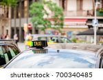 taxi signage on the roof a...   Shutterstock . vector #700340485