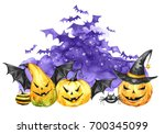 watercolor scary night  flock... | Shutterstock . vector #700345099