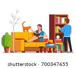 husband and wife relaxing and... | Shutterstock .eps vector #700347655