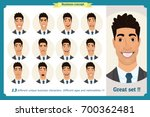 set of male facial emotions... | Shutterstock .eps vector #700362481
