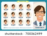 set of male facial emotions...   Shutterstock .eps vector #700362499