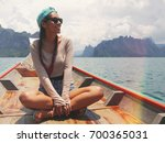 young happy mixed race girl... | Shutterstock . vector #700365031