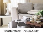 cup of tea on wooden tray on a... | Shutterstock . vector #700366639