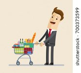 businessman standing with a... | Shutterstock .eps vector #700373599