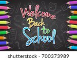 back to school   text on...   Shutterstock .eps vector #700373989