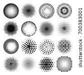set of various black halftone... | Shutterstock .eps vector #700383001