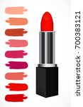 red realistic lipstick with set ... | Shutterstock .eps vector #700383121