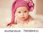 cute baby girl 2 3 month old... | Shutterstock . vector #700384411