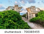 the temple of ixchel at beach...   Shutterstock . vector #700385455