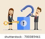business man and businesswoman... | Shutterstock .eps vector #700385461