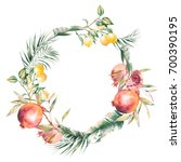 watercolor tropic garden wreath.... | Shutterstock . vector #700390195