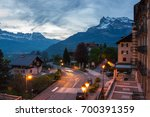Small photo of SAINT-GERVAIS-LES-BAINS, FRANCE - APRIL 20, 2016: Panoramic view of Saint-Gervais-les-Bains and Alps, the highest and most extensive mountain range system that lies entirely in Europe