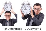 funny businessman with clock... | Shutterstock . vector #700394941