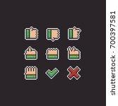 pixel art hand gestures 8bit... | Shutterstock .eps vector #700397581