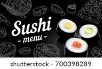 sushi menu sketch cover.vector... | Shutterstock .eps vector #700398289