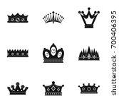regal crown icon set. simple...