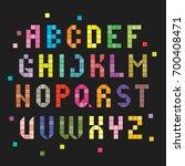 pixel alphabet set isolated on...