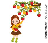 vector cute little girl picking ... | Shutterstock .eps vector #700411369