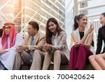 lifestyle of asian business... | Shutterstock . vector #700420624