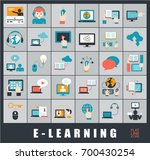 collection of e learning icons. ... | Shutterstock .eps vector #700430254