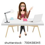 writer home office blogger work ... | Shutterstock .eps vector #700438345
