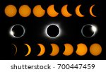 Small photo of Rough composite of the phases of the August, Two Thousand Seventeen solar eclipse, from first contact to fourth contact.