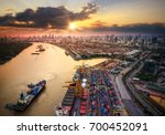 container ship in import export ... | Shutterstock . vector #700452091