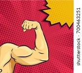 strong bodybuilder biceps on... | Shutterstock .eps vector #700463251