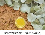 eucalyptus leaves and oil ... | Shutterstock . vector #700476085