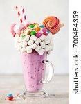 extreme milkshake. freakshake.... | Shutterstock . vector #700484359