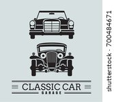 set classic car front view icon ... | Shutterstock .eps vector #700484671