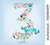 floral number three. watercolor ... | Shutterstock . vector #700484899